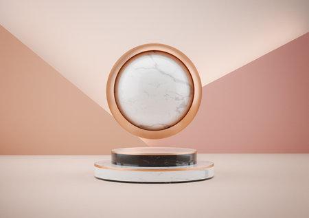 3d illustration of white marble pedestal isolated on beige background. round gold frame luxury minimalist mockup. 版權商用圖片