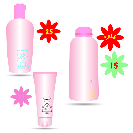 medical shower: Set of cosmetic products in bottles and tubes for children with price tag.