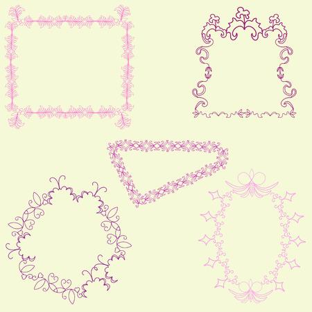 with sets of elements: Set of vintage frames, design elements. Vector
