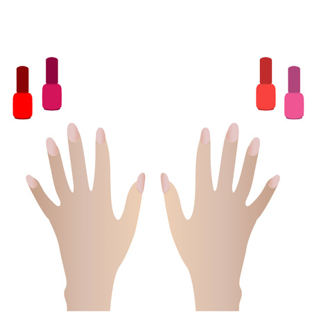 natural color: Hand with manicure natural color. Nail polish bottle fashion bright colors Illustration