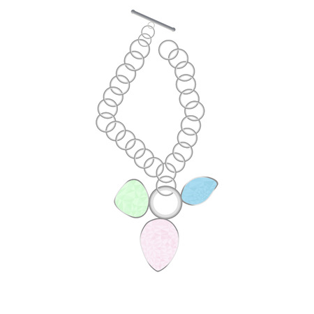 gold jewelry: White Gold jewelry necklace pendant with three multicolored gems Illustration