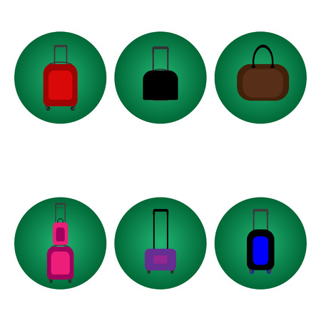 voyager: Set of baggage suitcase icons various colors. Vector illustration