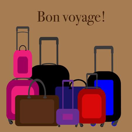voyager: Flat design illustration baggage. Handbag suitcase. Vector illustration Illustration