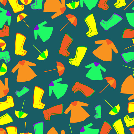 welly: Vector pattern with rain gum boots,umbrella and raincoat yellow, green, orange color.   Rain gear Illustration