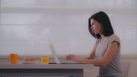 Young woman typing on laptop in the morning. Female with black hair wearing in casual t-shirt sitting at the table with breakfast in front of big window. Archivio Fotografico