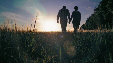 Couple walking on the field holding hands near jumping little french bulldog. Silhouettes man and woman and puppy resting at the open air. Breathtaking landscape with young plant like wheat and beautiful sunset in blue sky. Archivio Fotografico