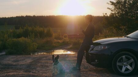 Woman standing near car french bulldog sitting on the ground. Female in the roadside using smartphone texting message. Beautiful evening landscape with sunrays and green forest.