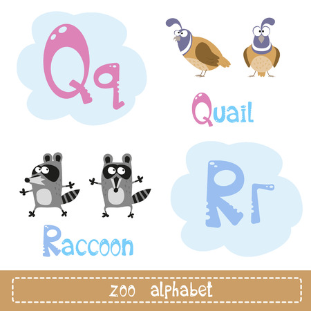 Colored letters of the alphabet for child next to images of abstract characters funny animals isolated on white background. Vector illustration Ilustração
