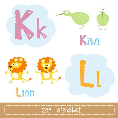 De color las letras del alfabeto para el niño junto a imágenes de caracteres abstractos animales divertidos aislados en el fondo blanco. ilustración vectorial Ilustración de vector
