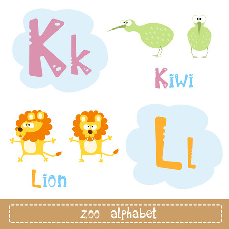 leon de dibujos animados: De color las letras del alfabeto para el niño junto a imágenes de caracteres abstractos animales divertidos aislados en el fondo blanco. ilustración vectorial Vectores