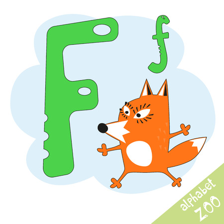 letter F and funny cute fox. Childrens alphabet in cartoon style, illustration.
