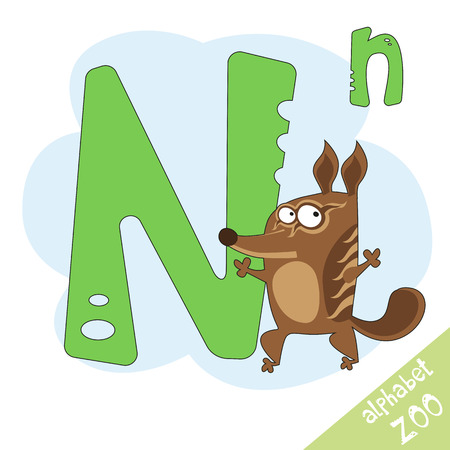 illustrated: letter N and funny cute numbat. Childrens alphabet in cartoon style, illustration. Illustration