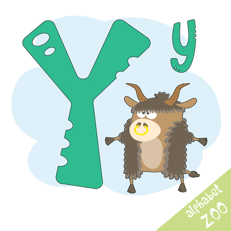 yak: letter Y and funny cute yak. Childrens alphabet in cartoon style, illustration.