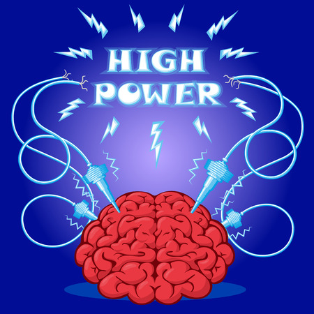 Funny Poster: brain with electrodes energized and text to design a banner or cover device. Cartoon drawing style. Vector illustration. Illustration