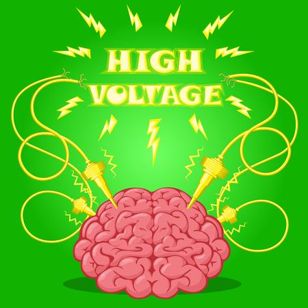 Affiche drôle: cerveau avec des électrodes sous tension et le texte pour concevoir une bannière ou un dispositif couvre. Cartoon style de dessin. Vector illustration. Vecteurs