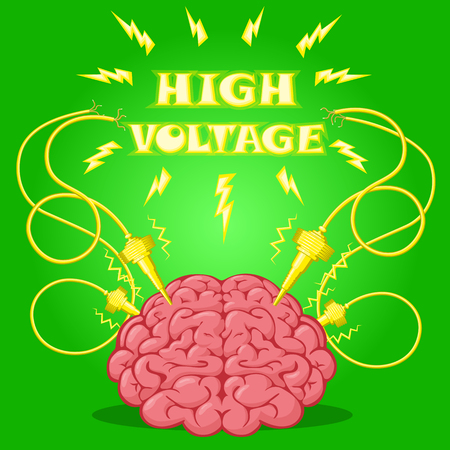 Funny Poster: brain with electrodes energized and text to design a banner or cover device. Cartoon drawing style. Vector illustration. Vector Illustration