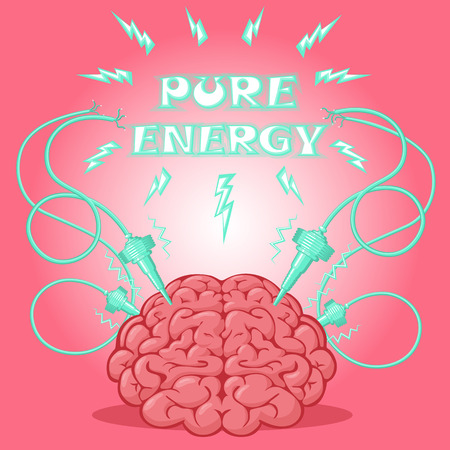 energized: Funny Poster: brain with electrodes energized and text to design a banner or cover device. Cartoon drawing style. Vector illustration. Illustration