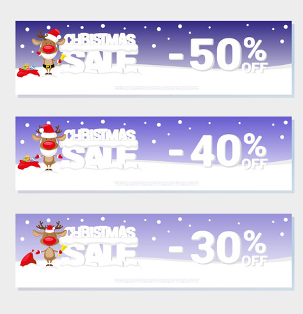 santa's deer: Poster Christmas sale with funny Santas Deer and text from big letters on snow. For design price label or web sites banner. Cartoon style. Vector illustration
