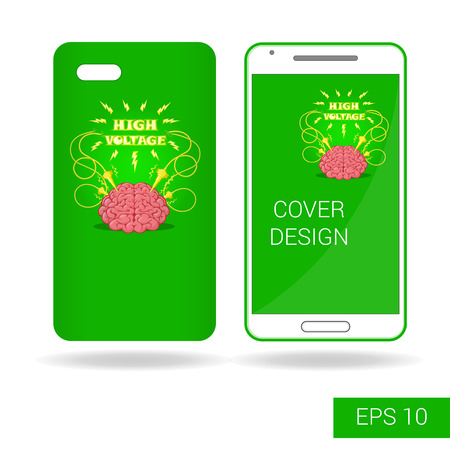 shocks: Concept design cover mobile smartphone with funny human brain and electric lightning in cartoon style isolated on white background. Vector illustration