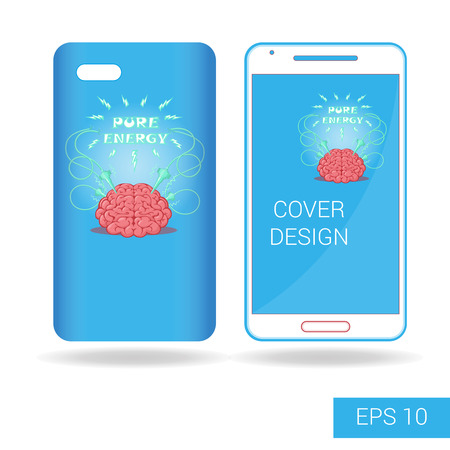 shocks: Concept design cover mobile smartphone with funny brain and electric lightning cartoon style isolated on white background. Vector illustration Illustration