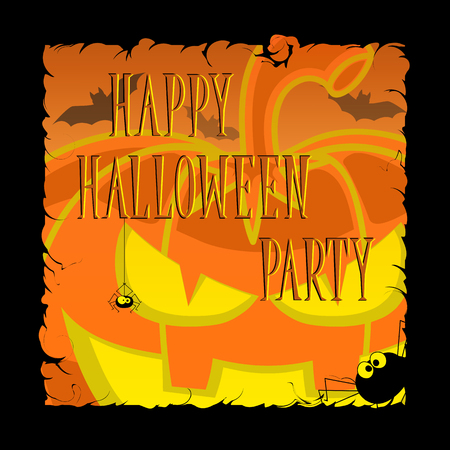 Funny Halloween pumpkins, bats, scary spiders and text in retro cartoon style on orange gradient background. Concept design for banner, poster or ticket on party. Vector illustration Illustration