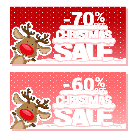 big letters: Banner Christmas sale with Santa Deer and text from big letters on snow. Cartoon style. Vector illustration Illustration