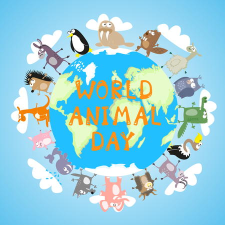 sea goat: Banner World animal day with cute character drawing in funny cartoon style for kids and preschool education. Vector illustration Illustration