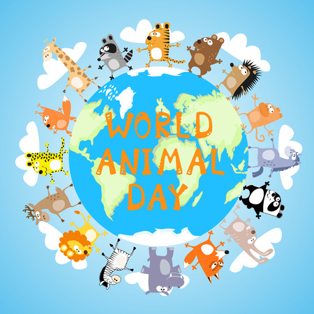 Banner World animal day with cute character drawing in funny cartoon style for kids and preschool education. Vector illustration