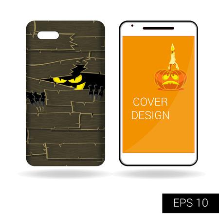 Concept ontwerp cover mobiele smartphone met zwarte eng monster staren van achter de oude houten muur in cartoon-stijl op een witte achtergrond. vector illustratie