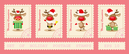 postage stamps: Set of holiday postage stamps with north deer dancing in different poses. Cartoon style isolated on pink background. Vector illustration