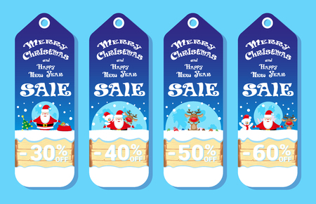 price label: Set of holidays cards with Santa Claus and Snowman adn Deer in cartoon style. Design concept for price label, flyer or banner. Vector illustration