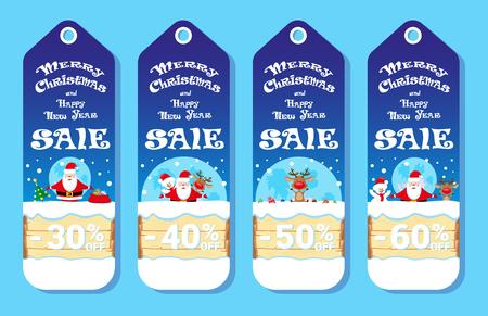 Set van vakantie kaarten met Santa Claus en Snowman adn Herten in cartoon-stijl. Ontwerpconcept voor de prijs label, flyer of banner. vector illustratie