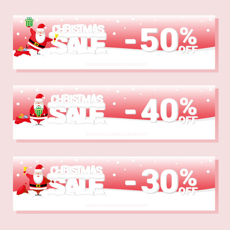 big letters: Banner Christmas sale with Santa Claus and text from big letters on snow. Cartoon style. Vector illustration