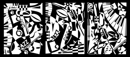 Design banner jazz music in retro geometric abstraction style. Triptych painting. Vector illustration