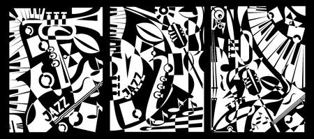 Projektowanie muzyki jazzowej w stylu retro abstrakcji geometrycznej. Malarstwo Tryptyk. Ilustracji wektorowych Ilustracje wektorowe