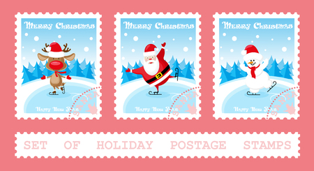 Set of holiday postage stamps with Santa Claus, deer, snowman on ice rink. Cartoon style isolated on pink background. Vector illustration