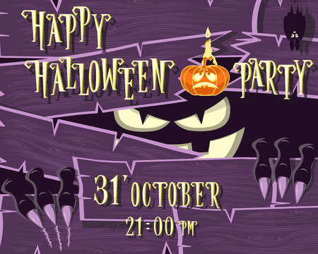 darkness: Halloween banner: monster with scary face broken wooden wall from boards and looks out of the darkness. Vector illustration in cartoon style. Concept design poster, invite or ticket on holiday party.