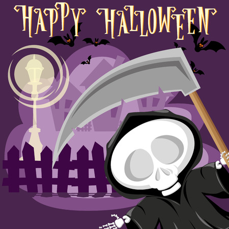 ghost town: Halloween background. Funny little death with a large scythe on the street of the town. Cartoon style. Concept design for banners, posters, flyer or cards. Vector illustration