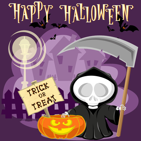 Halloween background. Funny little death with a large scythe on the street of the town. Cartoon style. Concept design for banners, posters, flyer or cards. Vector illustration