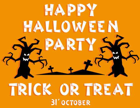 crosses: Holiday background. Title Happy Halloween party Trick or Treat from pieces paper and scary trees backdrop on crosses. Concept banner, flyer, poster. Vector illustration in flat style or baby applique
