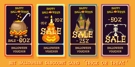 broth: Set halloween discount voucher with pumpkins, skeleton, candles, house and cauldron in cartoon funny style isolated on orange background. Vector illustration