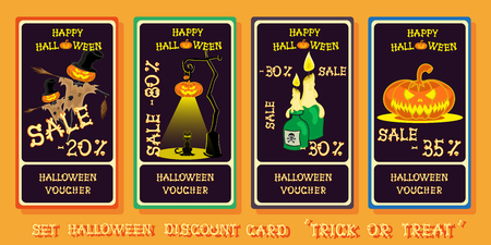 broth: Set halloween discount voucher with pumpkins, skeleton, cat, scarecrow, candles  in cartoon funny style isolated on orange background. Vector illustration