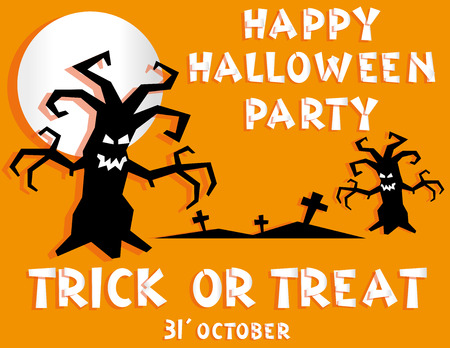 abstact: Holiday background. Title Happy Halloween party Trick or Treat and scary trees backdrop on crosses. Concept for design banner, flyer, poster. Vector illustration in flat style or baby paper applique