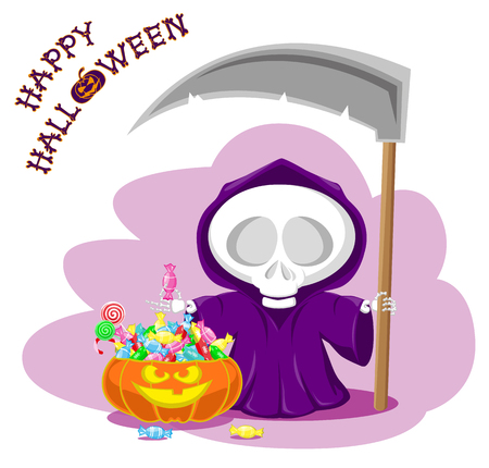 Funny little death with a large scythe and pumpkin. Title Happy Halloween from bones isolated on white background. Cartoon style. Vector illustration