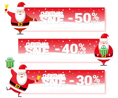 big letters: Christmas sale flyer or voucher with Santa Claus and text from big letters on snow. Cartoon style. Vector illustration