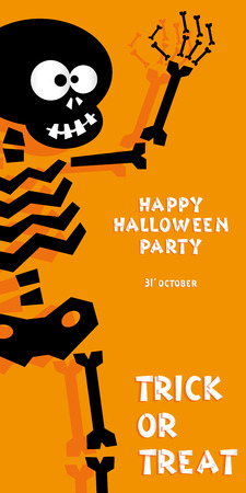 white party: Holiday background. Title Happy Halloween party Trick or Treat and skeleton. Concept for design banner, flyer, poster. Vector illustration in flat or kids paper applique style