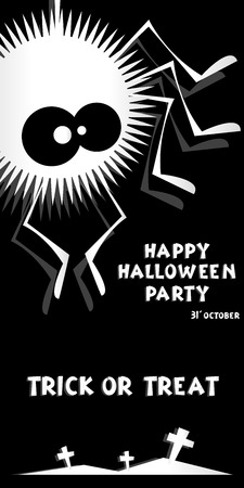 crosses: Holiday background. Title Happy Halloween party Trick or Treat and spider, crosses. Concept for design banner, flyer, poster. Vector illustration in flat or kids paper applique style