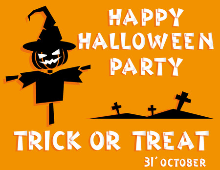Holiday background. Title Happy Halloween party Trick or Treat and scarecrow, crosses. Concept for design banner, flyer, poster. Vector illustration in flat or kids paper applique style
