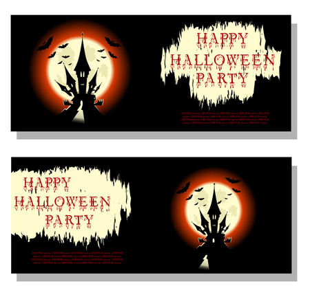 monsters house: Halloween background: bats, scary castle and bloody text in cartoon style on backdrop big moon. Concept design for banner, poster, invitation, flyer or ticket on party. Vector illustration