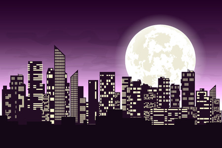 dark city: Panorama of the big city at night. Silhouettes of skyscrapers different construction in the dark town with glowing windows on a background of a large moon. Concept design banner. Vector illustration Illustration